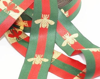 40 mm Green Red Striped Ribbon, Embroidered Bee Trim, Jacquard Ribbon, Ribbon, Ribbon Trim, Choker Ribbon Trim, Embroidered bee ribbon, GRGR