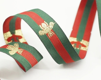 20 mm Green Red Striped Ribbon, Embroidered Bee Trim, Jacquard Ribbon, Ribbon, Ribbon Trim, Choker Ribbon Trim, Embroidered bee ribbon, GRGR
