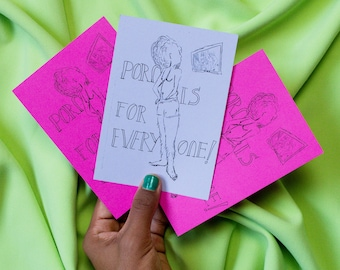 A6 Print Porn is for Everyone feminism hairy Afro queer postcard size