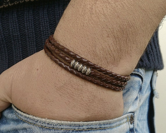 Men/'s Celtic Cross Leather Cuff Silver Cross Bracelet Celtic Knot Infinity Bracelet Leather Cross Bracelet