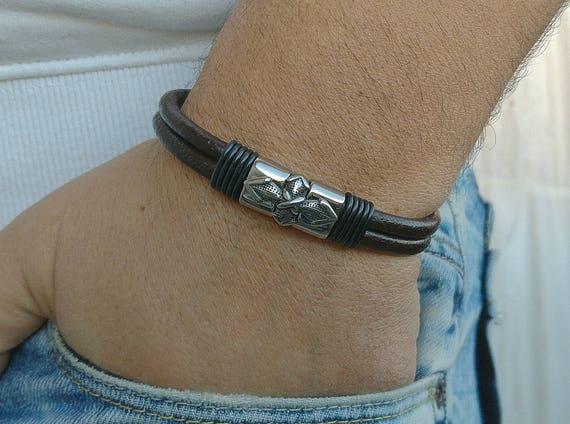 Herrenarmband Ihn Leder Knoten Geschenk Herren Für Keltische Celtic Irischen Manschette Männer Armband H9WEID2