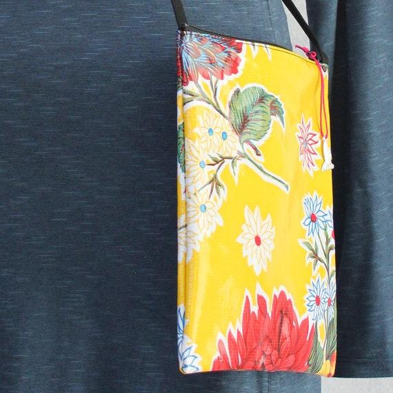 Yellow floral oilcloth Bagstaff market or beach bag