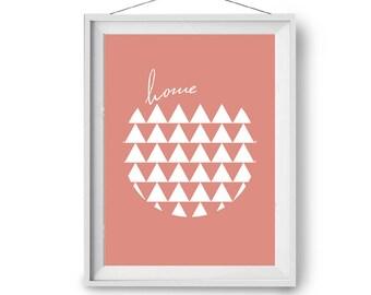 Home Wall Poster, Coral Art Prints, Scandinavian Art, Geometric Design Print, Modern Print, Triangles Art, 60x90 cm, 20x24 in, Print Avenue