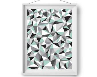 Abstract Art, Mint Gray Black Art, Geometric Print, Modern Poster, Triangles Art, Scandinavian Print, Art Prints, Wall Art, Print Avenue
