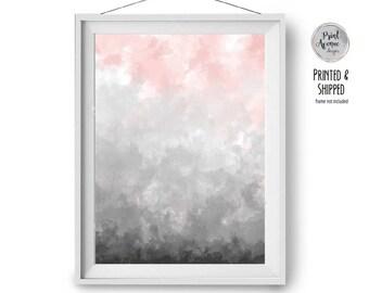 Watercolor Print, Pink & Grey Art, Wall Decor, Blush Print, Digital Painting, Brush Strokes Art, Abstract Painting, 16x20 , A3, Print Avenue