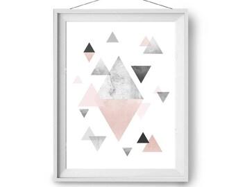 Blush Print, 11x14 in Art, Nursery Print, Geometric Art, Triangles Print, Modern Art, Scandinavian Print, A3 Print, Pink Art, Print Avenue