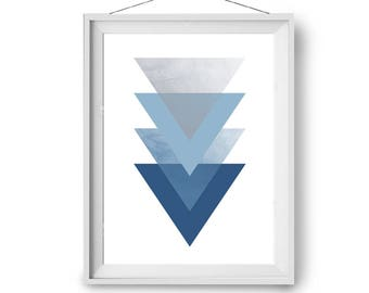 Blue Nursery Art, Modern Print, Geometric Poster, Scandinavian Print, A3 Art, 20x24 in Print, Blue Poster, Triangles Art, Print Avenue Art