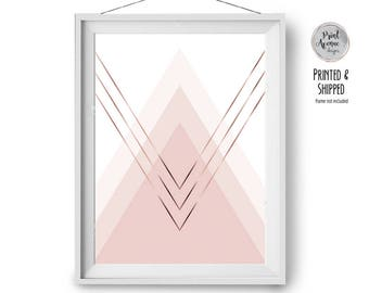 Blush Print, Scandinavian Print, Pink Wall Decor, Faux Copper Print, Rose Gold Ombre Art, Geometric Print, 24x36 in, A1, 50x70, Print Avenue