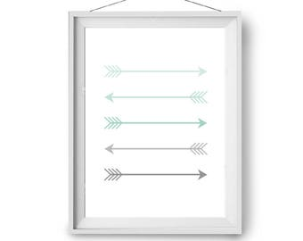 Arrows Print, Mint Art, Nursery Print, Mint & Grey Art, Wall Decor, Scandinavian Print, Minimal Art, Poster Size Art, 40x50cm, Print Avenue