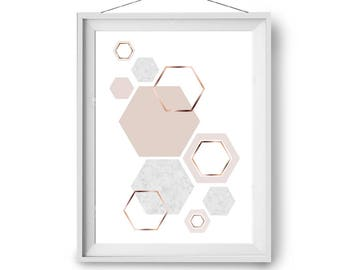 Scandinavian Print, Blush Print, Pink Art, Wall Decor, Art Prints, Marble Print, Art Prints, Geometric Art, A3 Hexagons Poster, Print Avenue