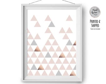 Pink Grey Copper Art Print, Scandinavian Decor, Geometric Wall Print, Blush Nursery Art, Modern Print, Triangles Art, 20x24 in, Print Avenue