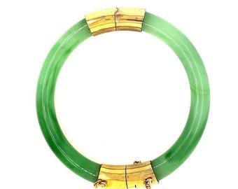 Vintage Shades of Green Faux Jade Long Plastic Links Stretch Bracelet