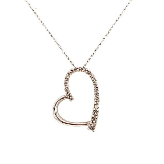10k WG Diamond Heart Necklace