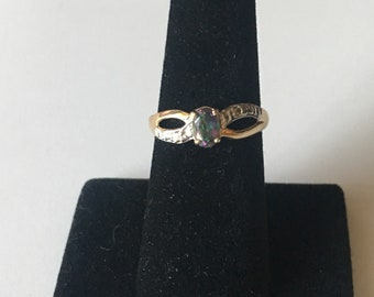 10k mystic topaz ring