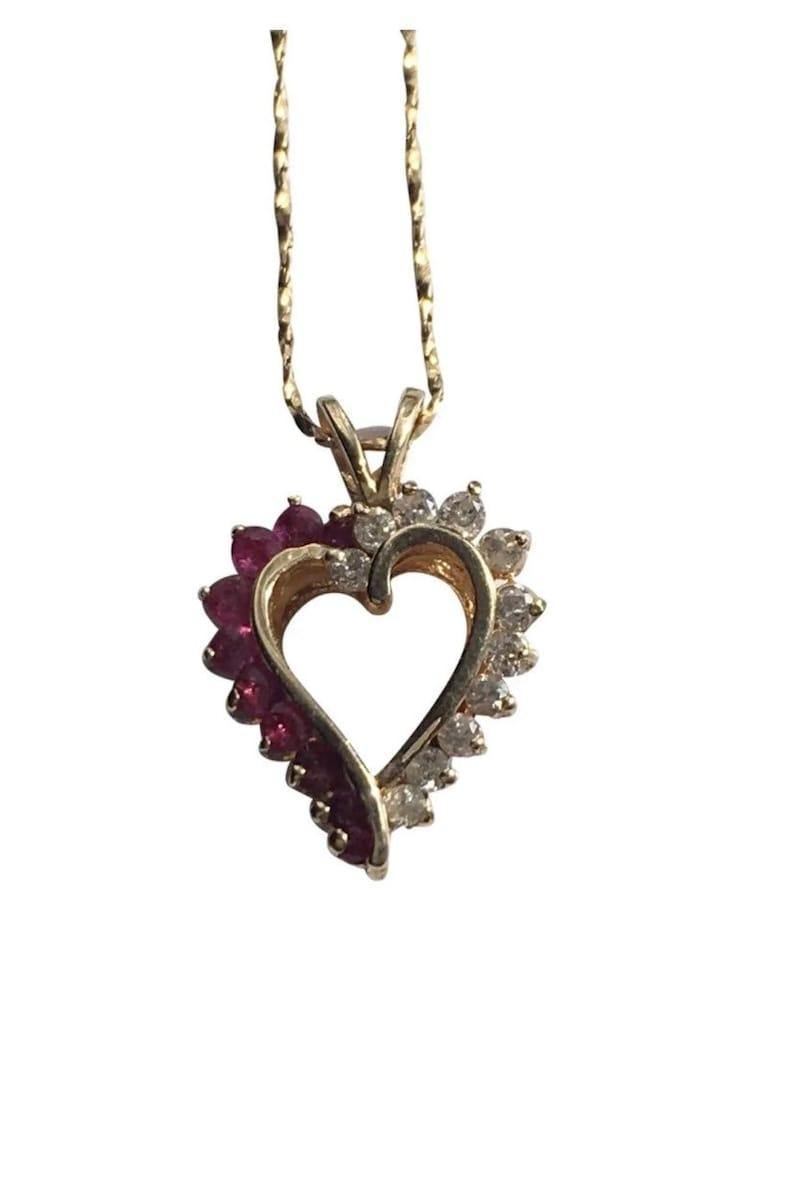 14k diamondsrubies necklace