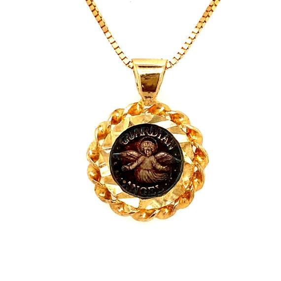 14k Guardian Angel Pendant Necklace