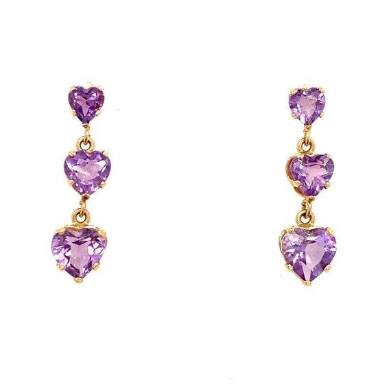 14k Dangle Amethysts Earrings