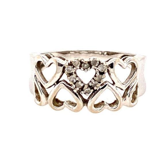 10k Diamond Hearts of Hearts Ring