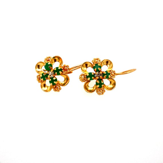 18k Emerald Dainty Earrings