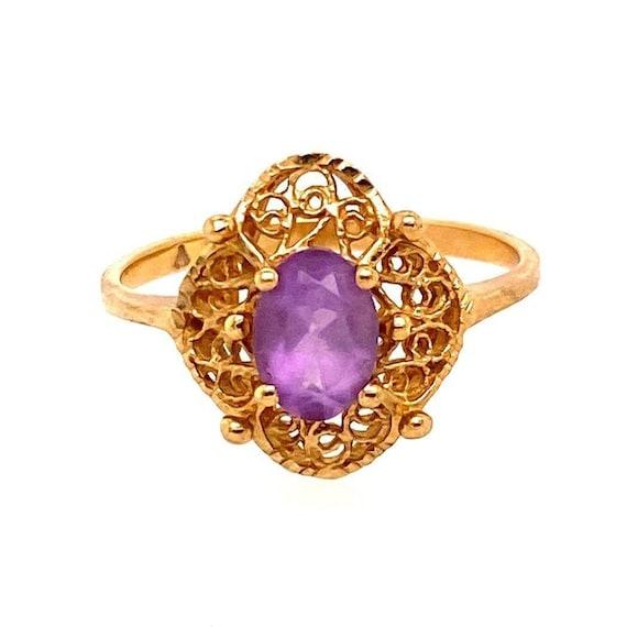 10k Victorian Style Amethyst Ring