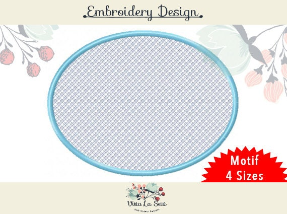Oval Motif Frame Simple Embroidery Design Towels Etsy