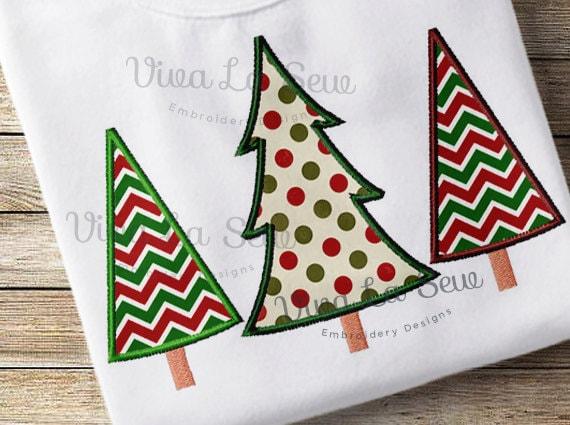 Instant download christmas tree trio appliqué holiday etsy
