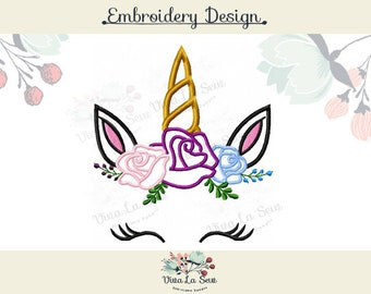 Unicorn Face Embroidery Design Appliqué Rose Crown Shabby Chic Flower Crown