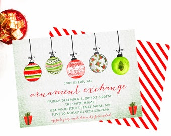Ornament Exchange Invitation, Ornament Exchange Party, Christmas Party, Christmas Party Invitation, Ornament Swap Invite, Ornament Invite