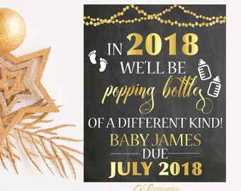 New Years Pregnancy Announcement, Popping Bottles of a Different Kind Pregnancy Announcement, Pregnancy Reveal, Printable Pregnancy Sign
