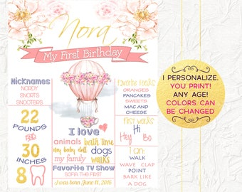 Hot Air Balloon Birthday Poster, Hot Air Balloon Birthday Chalkboard, Pink and Gold Floral, Girl Birthday Poster, Milestones, Digital