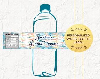 Beach Water Bottle Labels, Beach Bridal Shower, Tropical Bridal Shower, Beach Wedding, Personalized Water Bottle Labels, Digital File