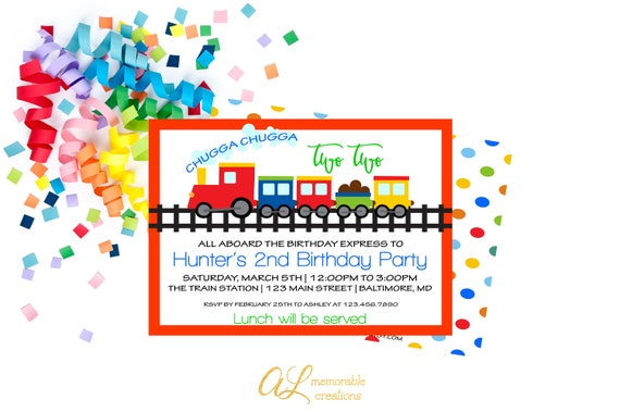 Train Birthday Invitation Chugga Two Boy