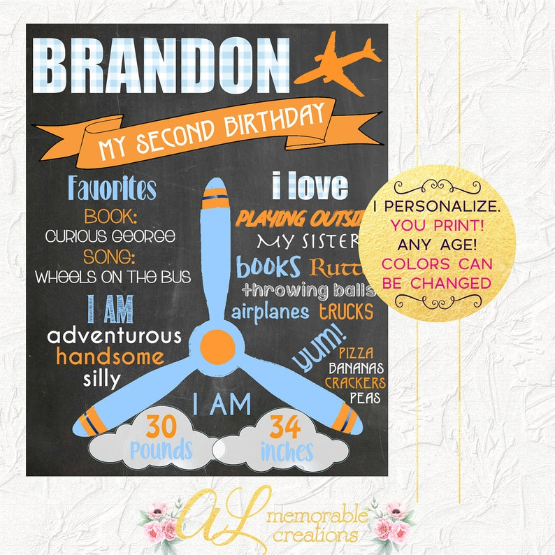 Photo Prop Milestones Airplane Birthday Party Airplane First Birthday Chalkboard Boy Birthday Chalkboard Digital File Birthday Poster