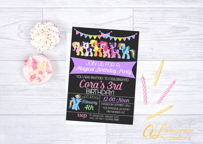My Little Pony Birthday Invitation Rainbow