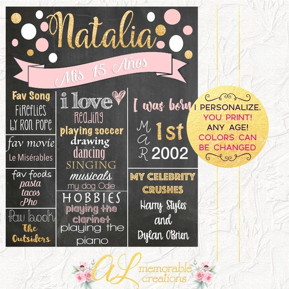 Quinceanera Chalkboard Pink And Gold Glitter Chalkboard Etsy