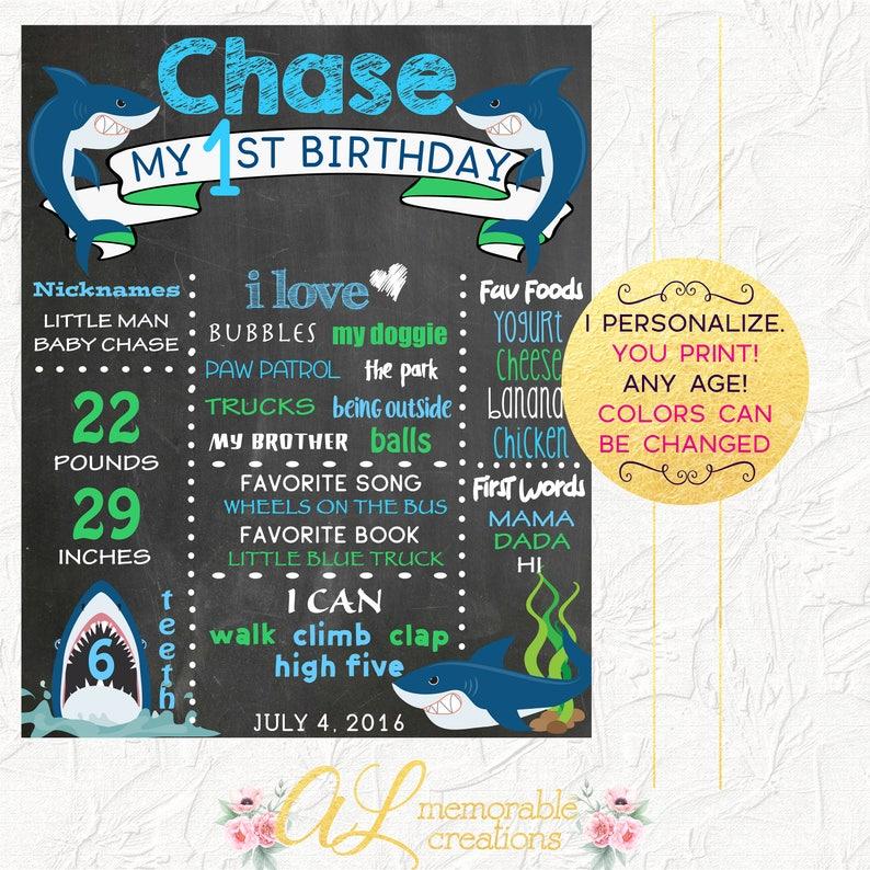 Milestones Board Shark First Birthday Chalkboard Digital File Boy Birthday Chalkboard 1st Birthday Poster Photo Prop Shark Party