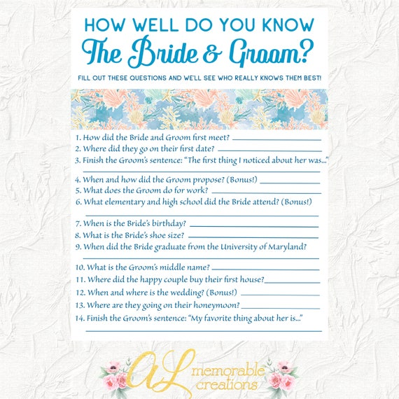 How Well Do You Know The Bride And Groom Game Bridal