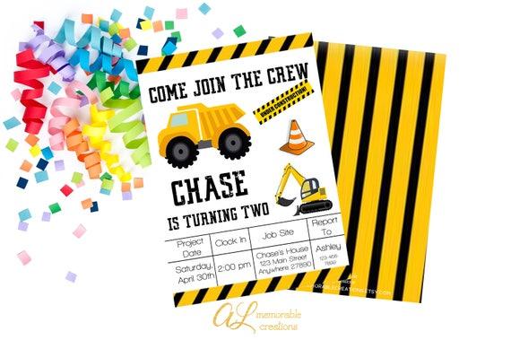 Construction Birthday Invitation Truck Theme