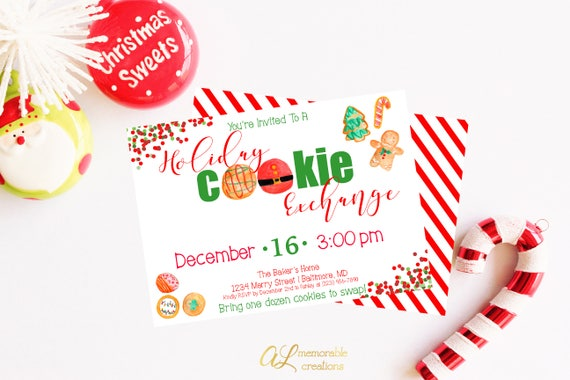 Holiday Cookie Exchange Invitation Cookie Exchange Party Etsy