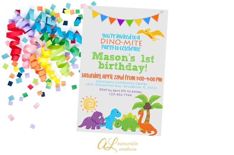 Dinosaur Birthday Invitation Boy Child