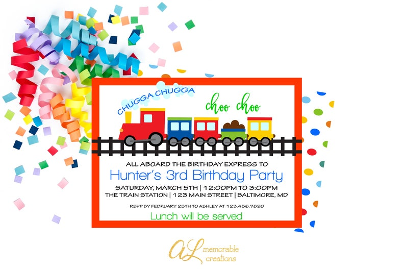 Train Birthday Invitation Chugga Choo