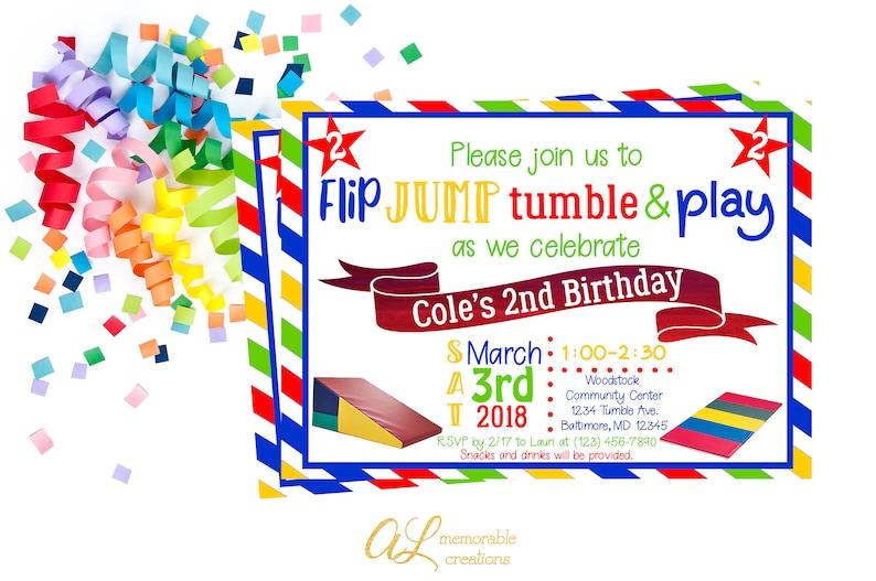 Tumbling Birthday Invitation Boy Gymnastics