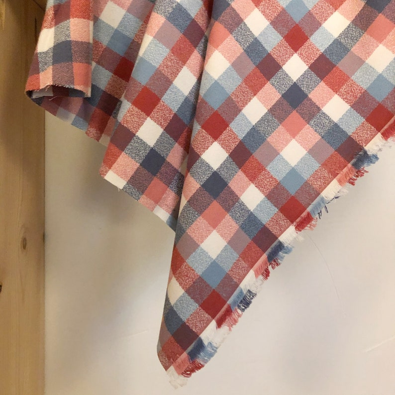 Americana Mammoth Flannel Half Yard Small Check Red and Blue Plaid Flannel Organic Flannel Fabric By The Yard Robert Kaufman Flannel