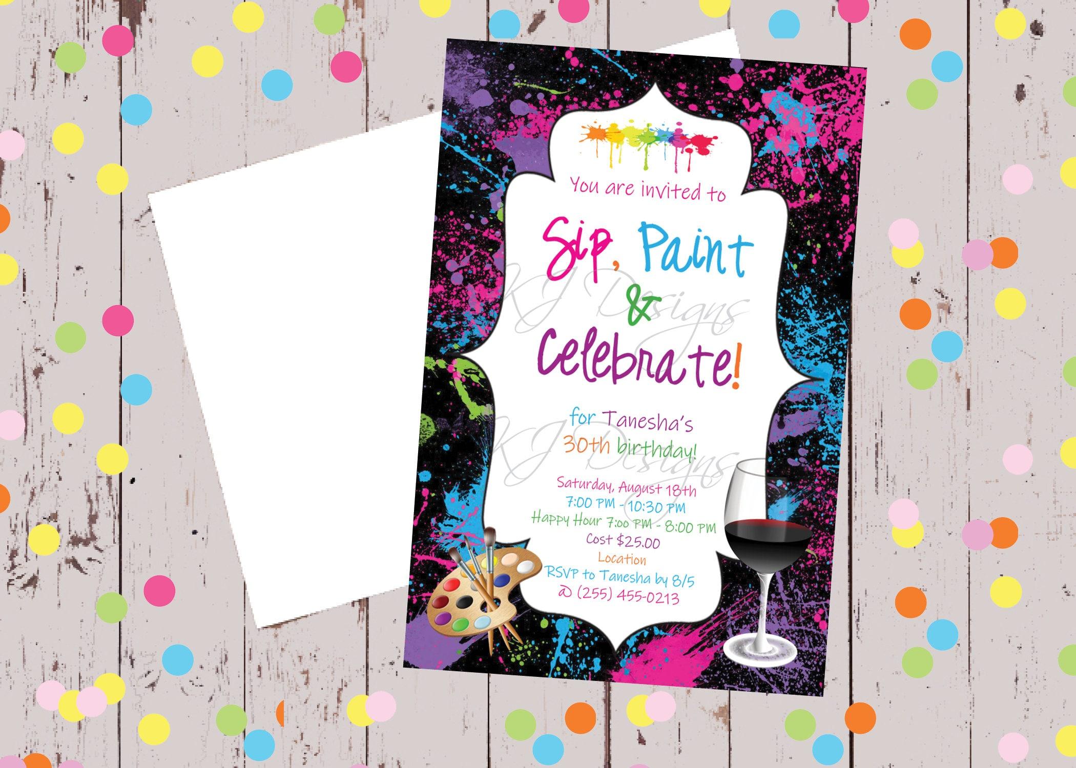 sip paint celebrate birthday birthday invitation sweet | Etsy