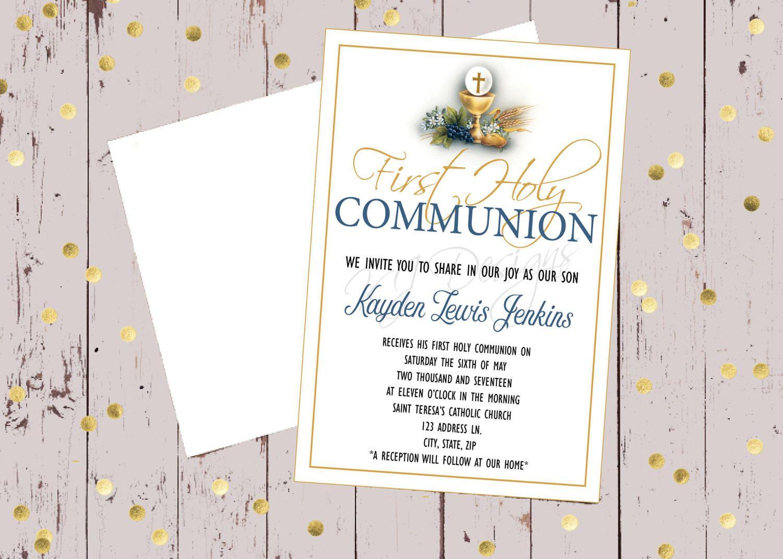 First Communion Invitation 5x7 Religious Occasion Religious Etsy