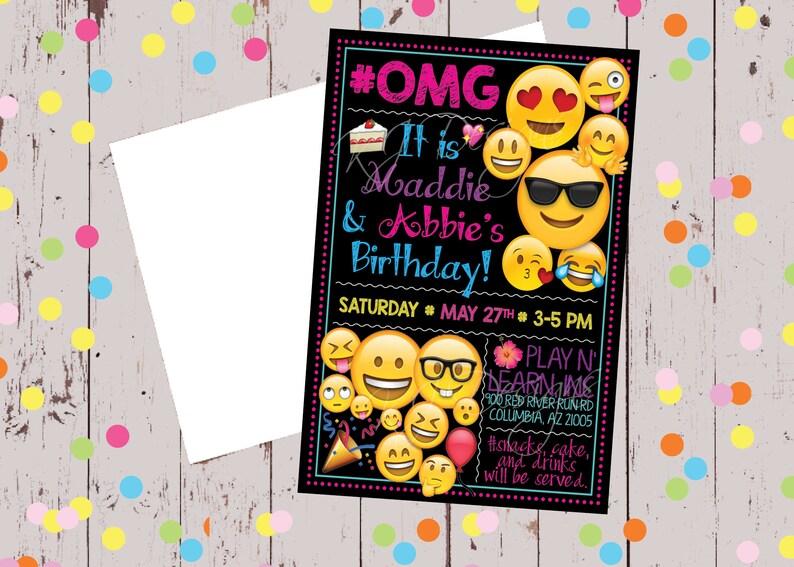 Birthday Invitation 5x7 Emoji Theme Black Pink Purple