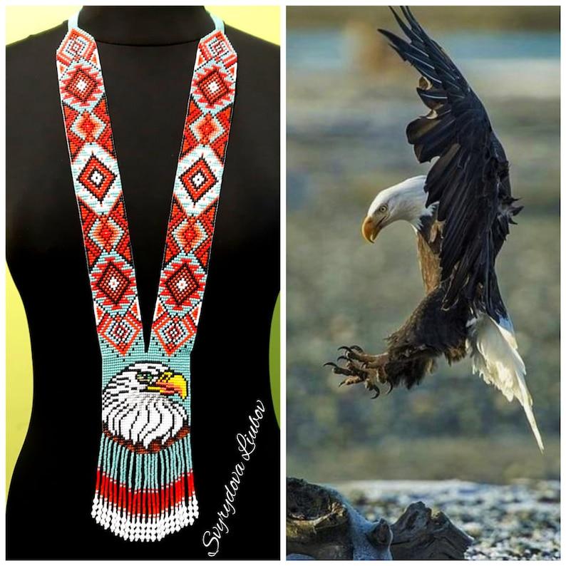 Stylish eagle exclusive beads Beautiful gerdan Gerdan with Orlan Gerdan with ornament national beads ethnic jewelry gerdan with birds
