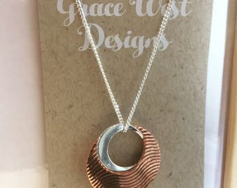 Handcrafted Sterling Silver and Copper Wave Pendant.. Australian Artist original design
