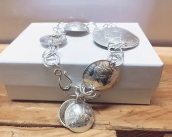 AUSTRALIA Coin Bracelet Handcrafted Sterling Silver made from Vintage Australian Coins