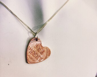 AUSTRALIA LOVE Free Post in Australia Handcrafted Sterling Silver Heart Pendant made from a Vintage Australian Coin